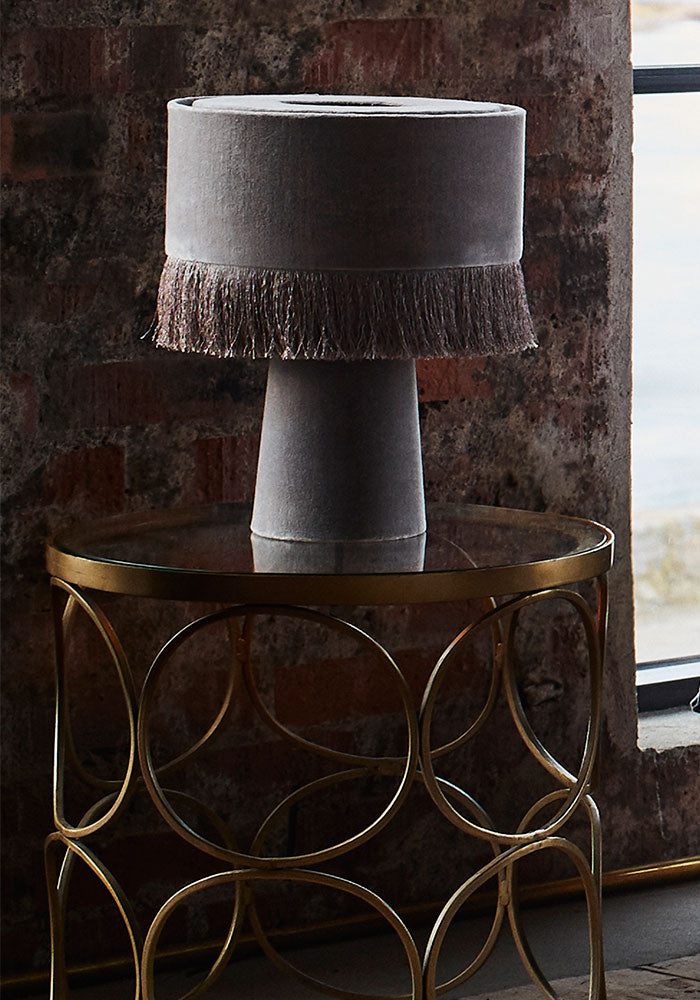Velvet Tassel Table Lamp in Soft Grey