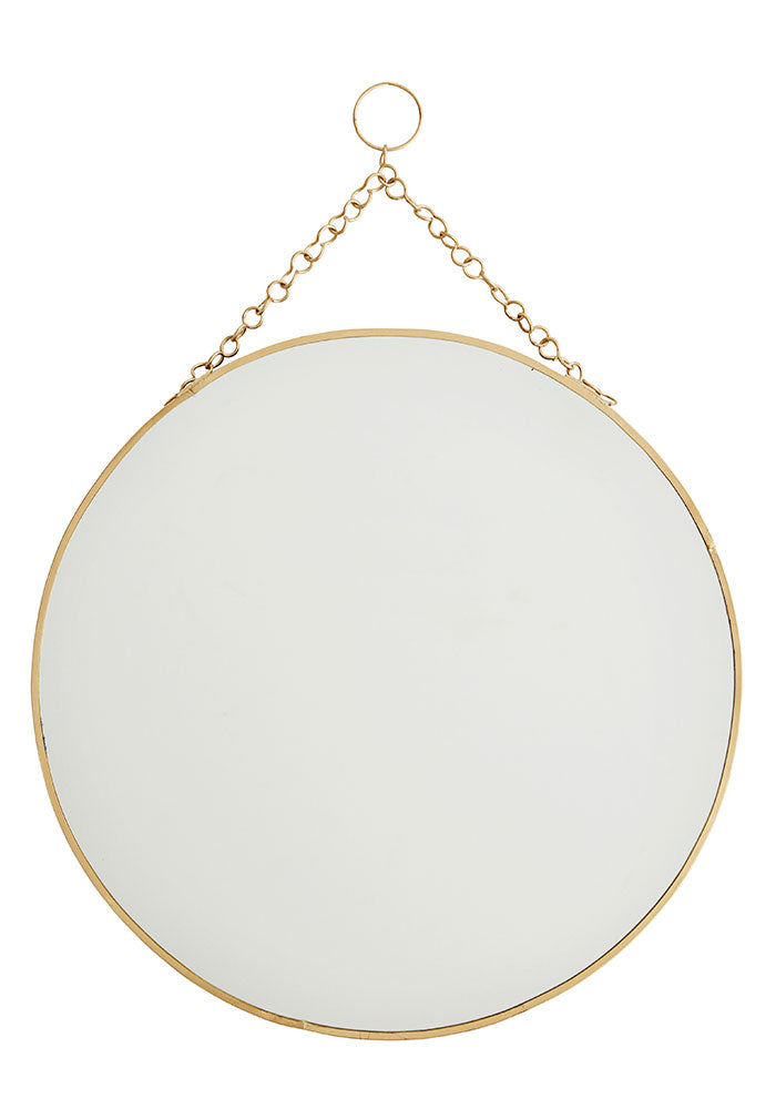 Round Brass Hanging Mirror