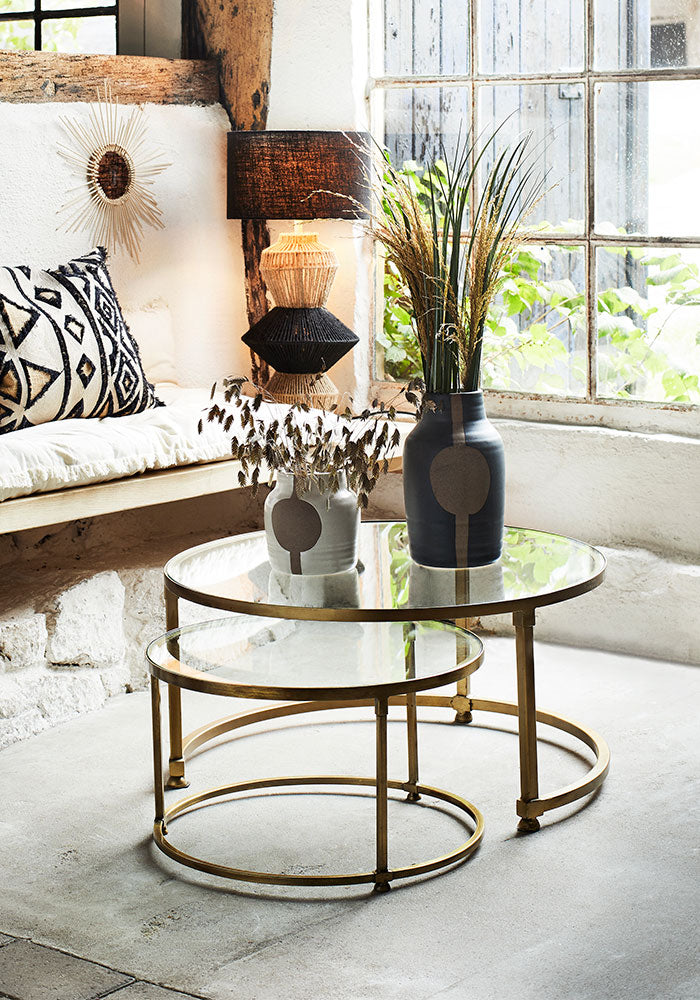 Nesting Coffee Tables in Brass With Glass Top