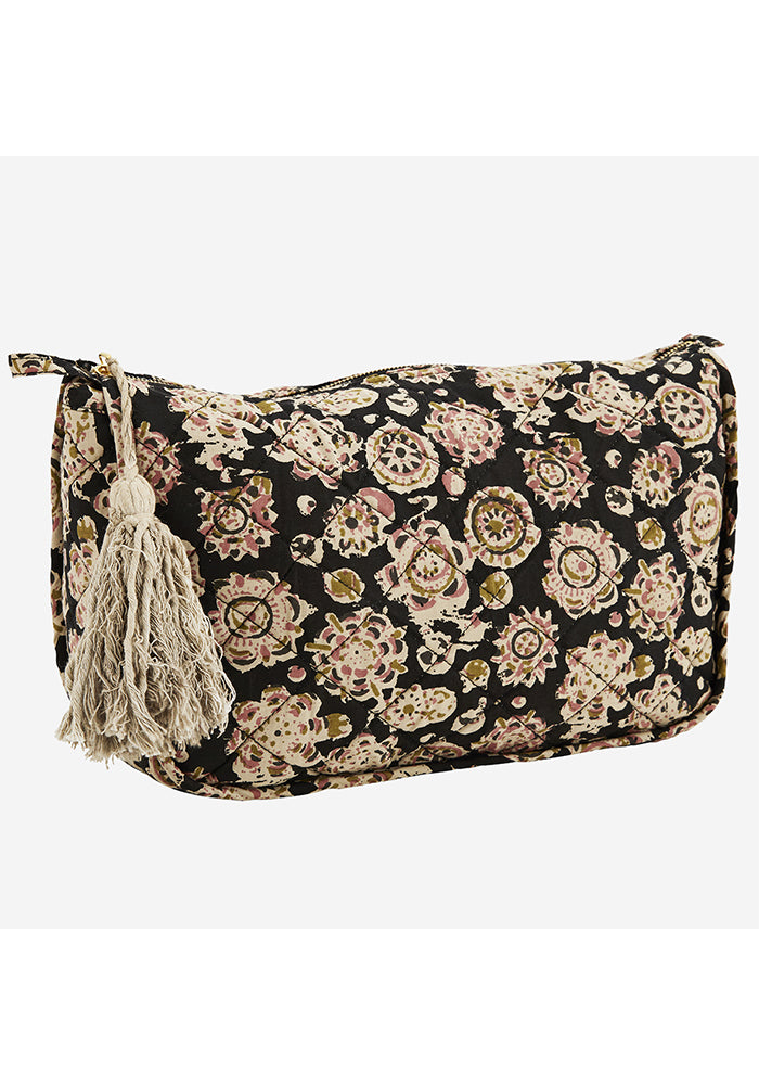 Printed Tassel Cotton Toilet Bag in Black