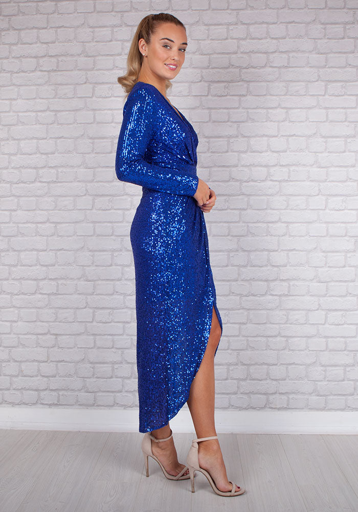Jessy Sequin Rouche Dress in Electric Blue
