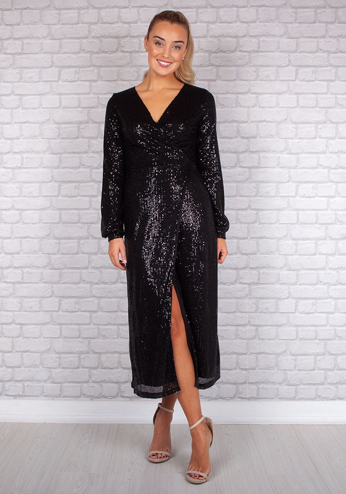 Shani Sparkle Sequin Dress in Black by Marc Angelo