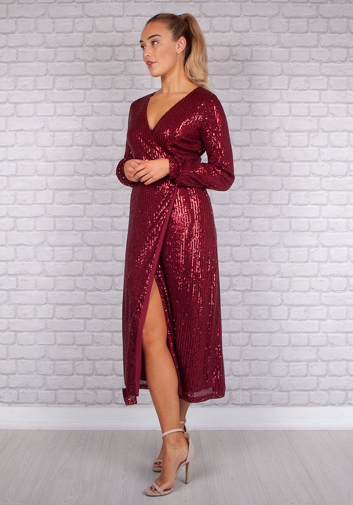 Shani Sparkle Sequin Dress in Wine by Marc Angelo