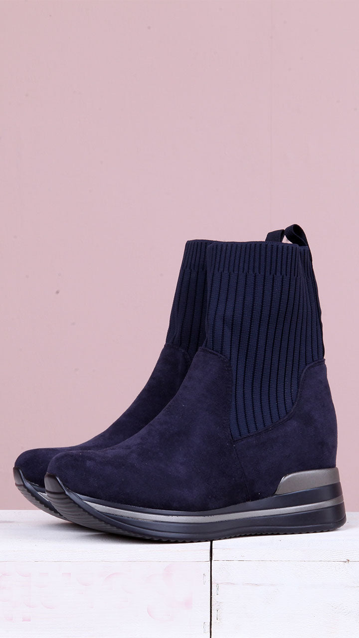 Martha Sock Boots in Navy