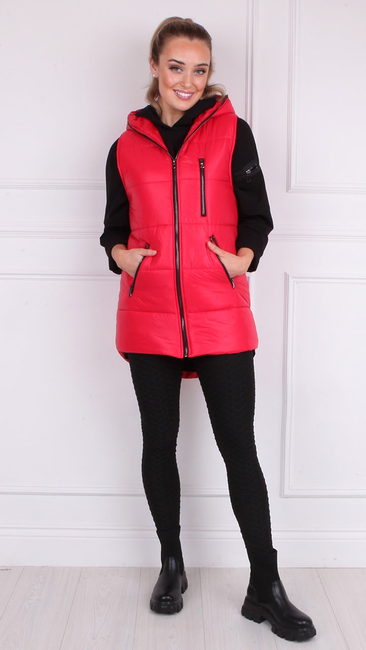 Maura Padded Gilet in Red