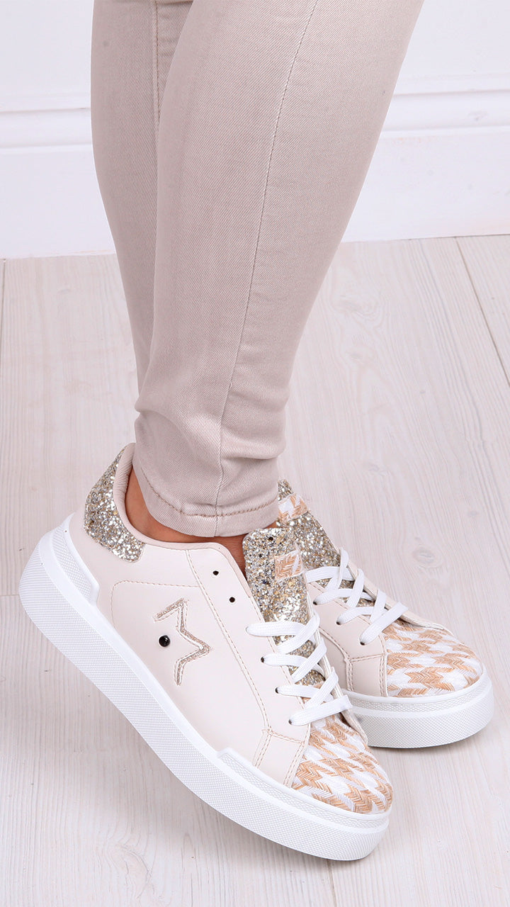 Rachel Star Trainers in Champagne/Gold