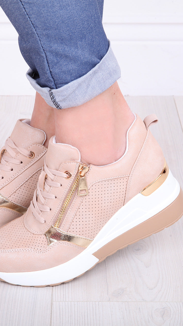 Danette Champagne Hidden Wedge Trainers