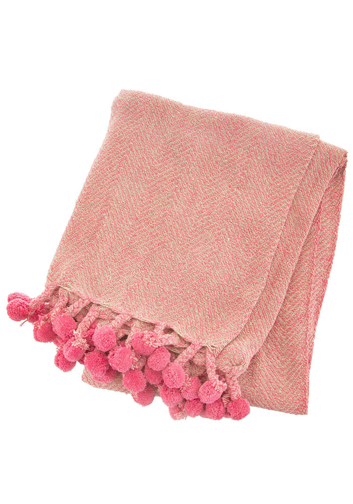 Nevada Herringbone Pom Pom Throw in Pink