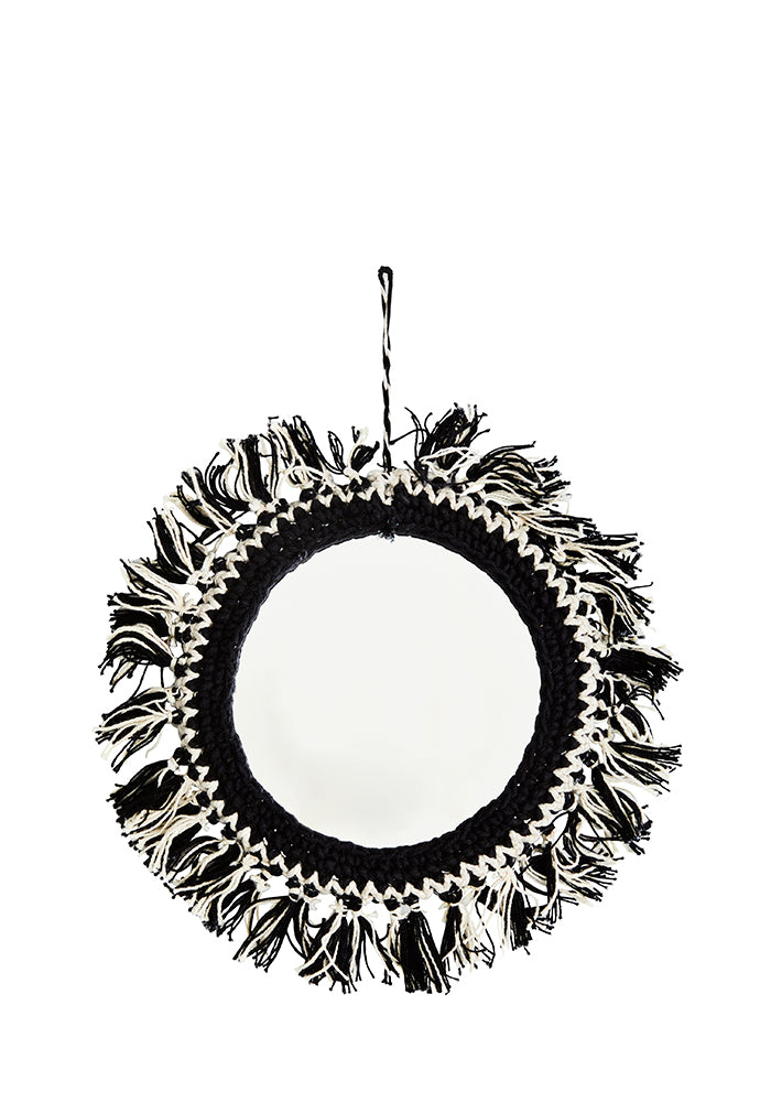 Small Mirror With Cotton Fringing 14cm in Black/Cream