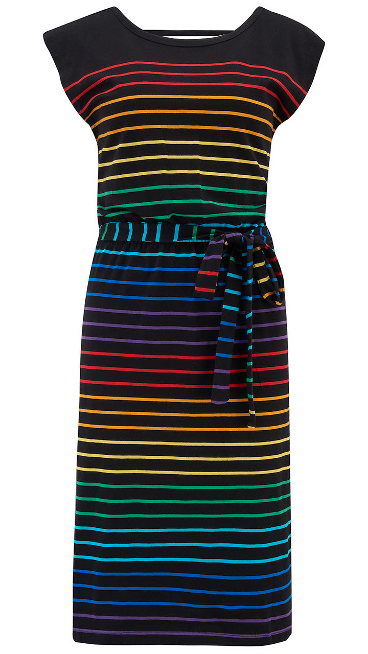 Hetty Jersey Rainbow Stripe Dress by Sugarhill Brighton