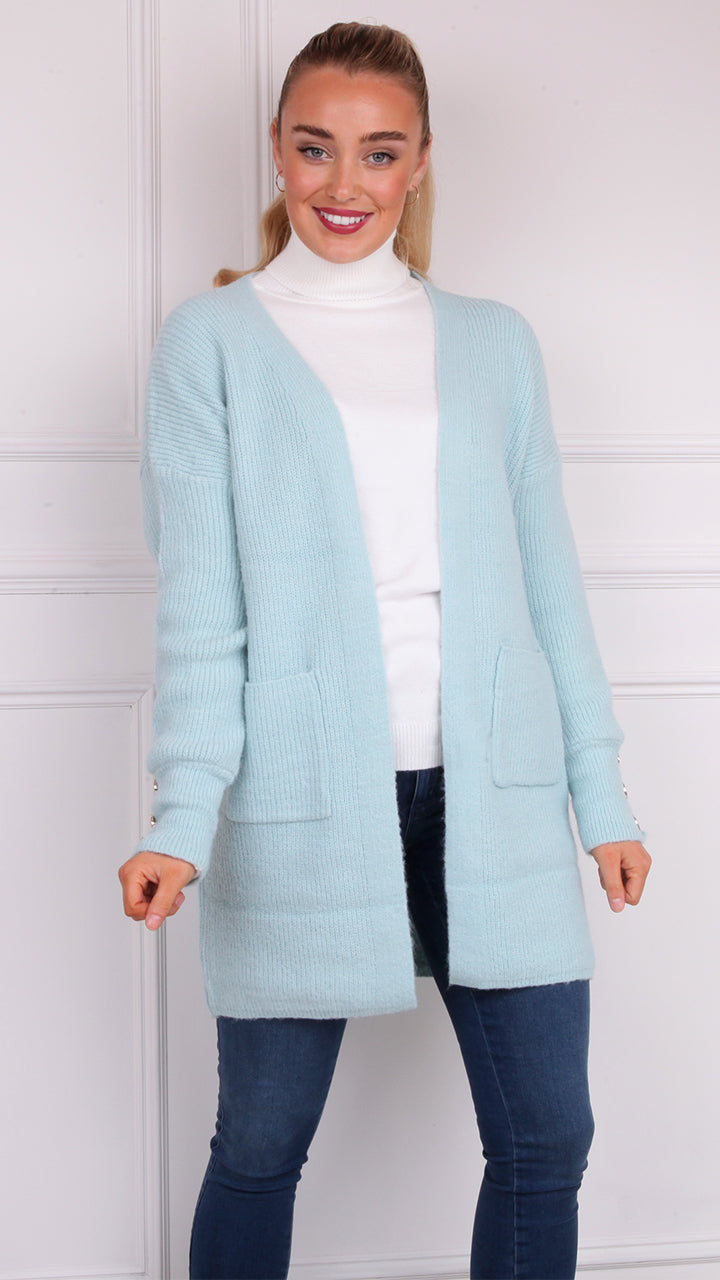 Susan Button Cardigan in Mint