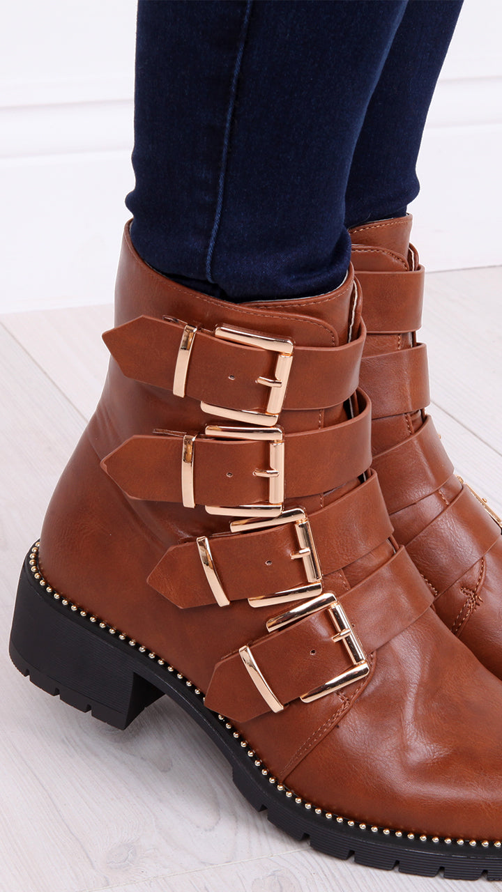 Rosie Buckle Biker Boots in Tan