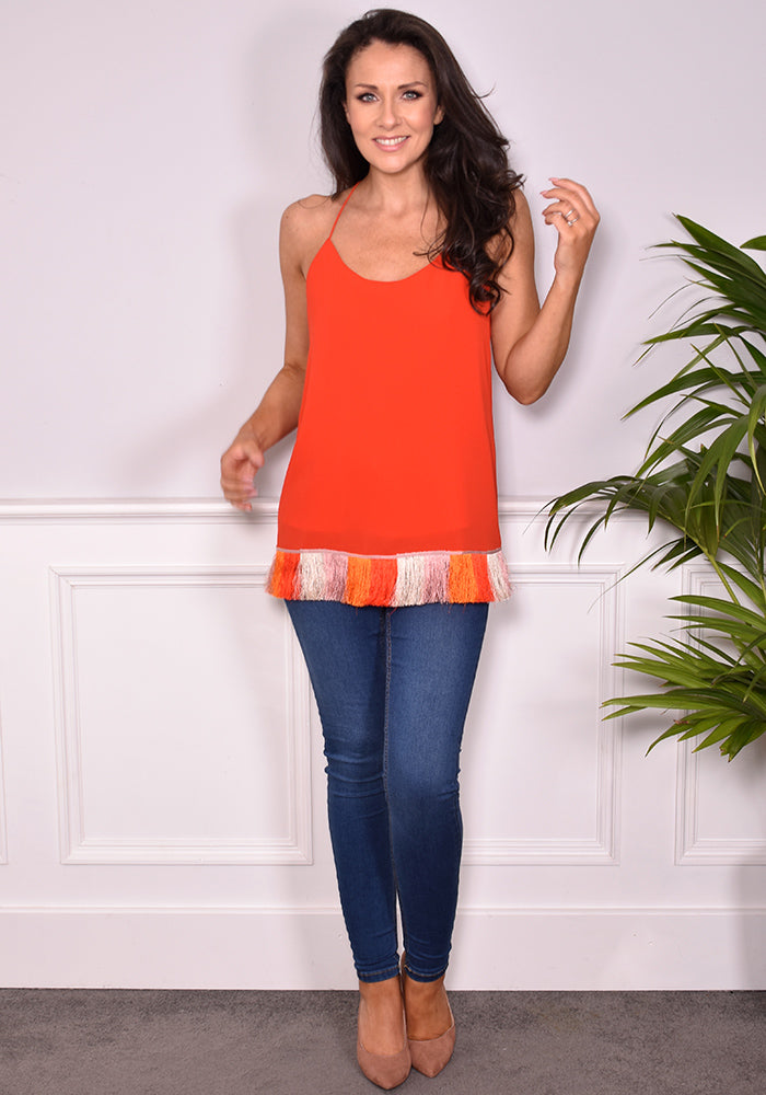 Eor Fringe Cami by Traffic People in Flame-Tops-Redlane.ie