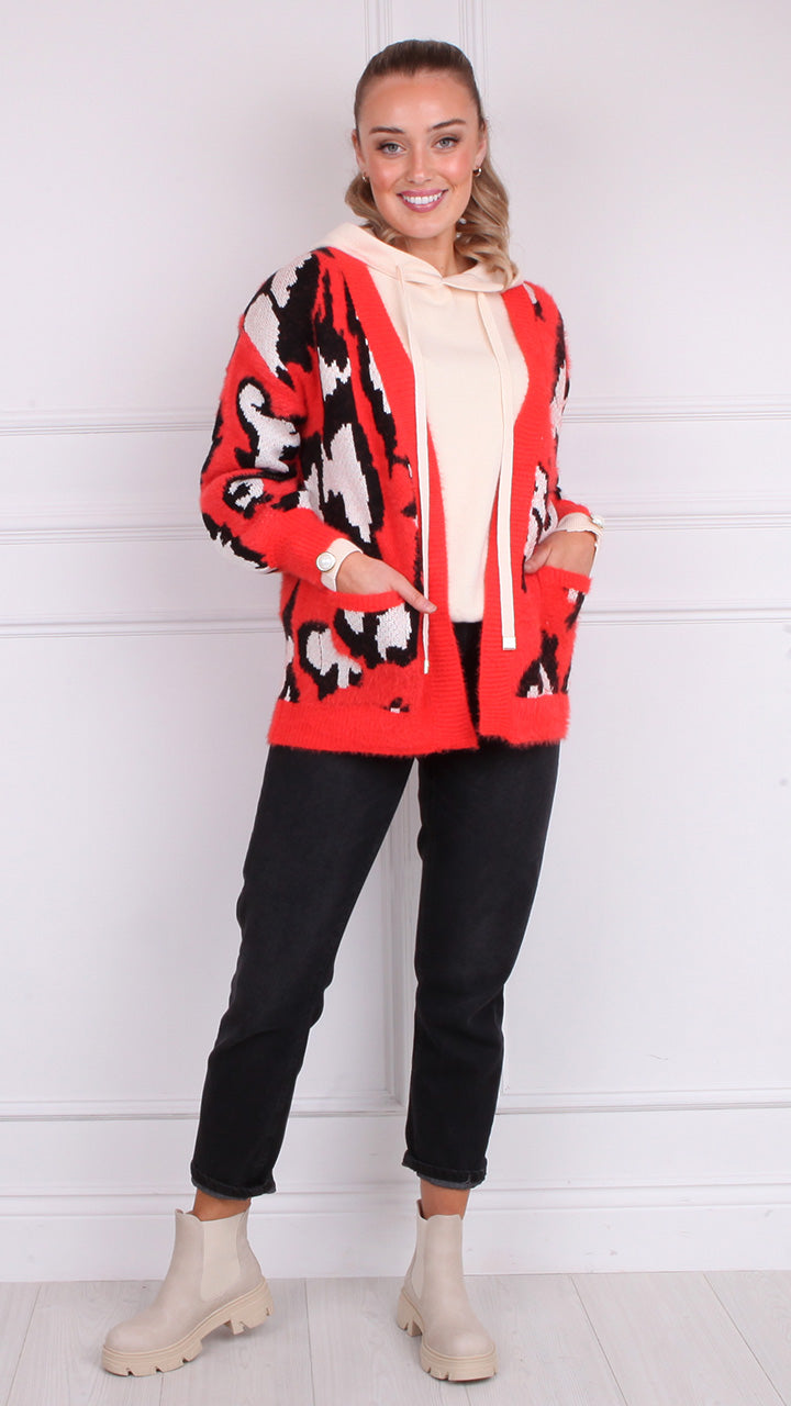 Trina Supersoft Open Cardigan in Red