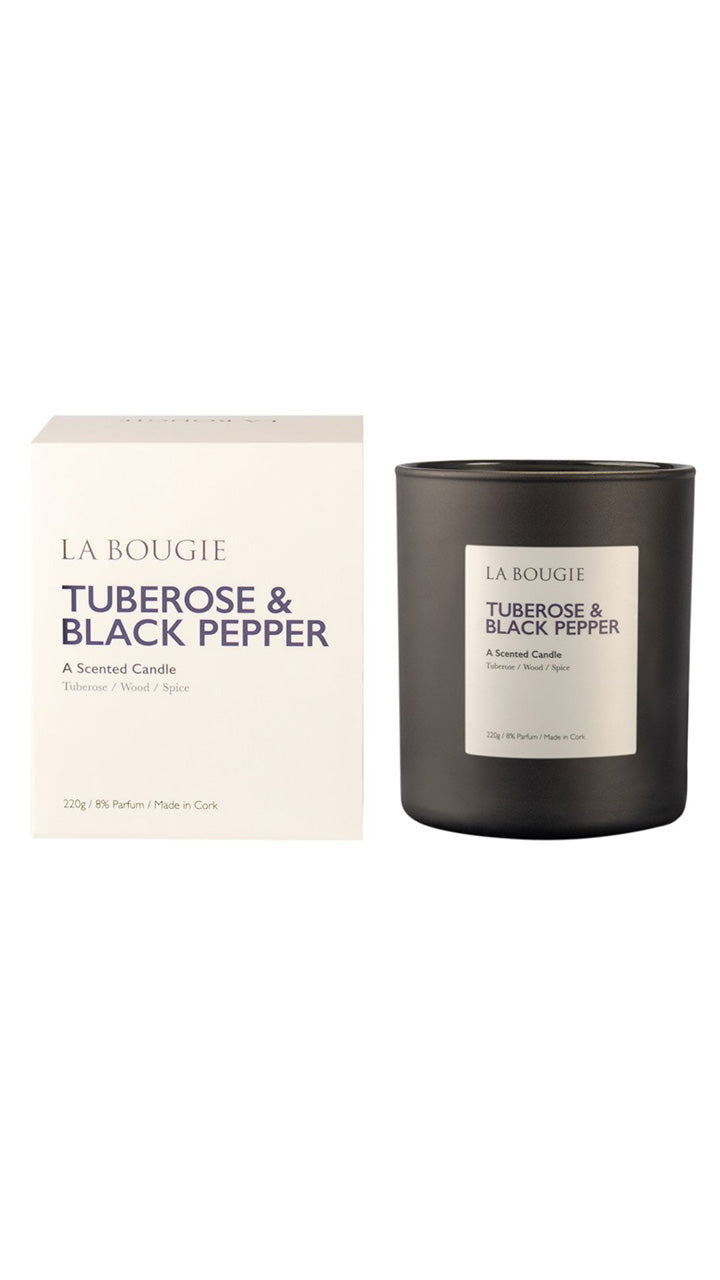 Tuberose & Black Pepper Scented Candle by La Bougie