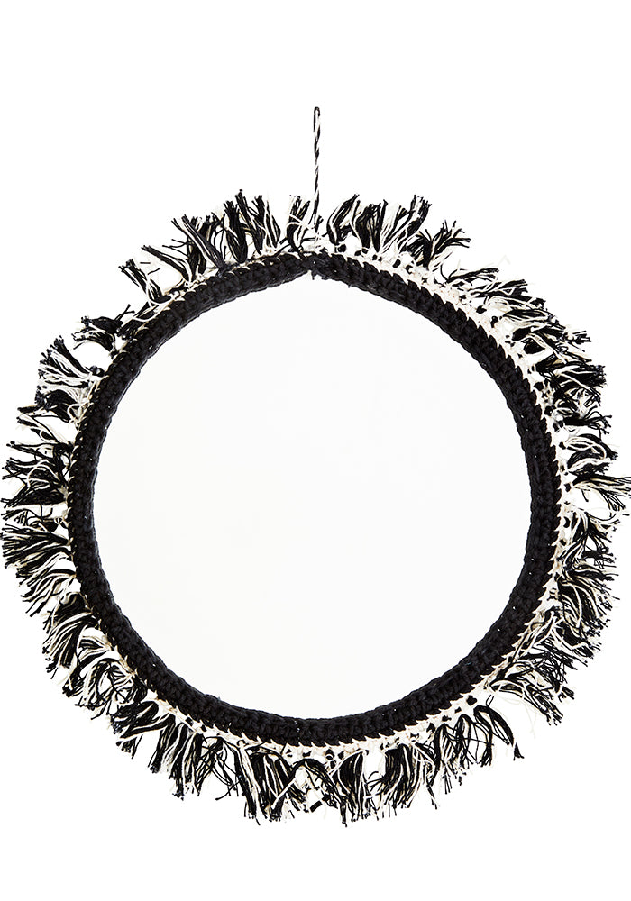 Mirror With Cotton Fringing 25cm in Black/Cream