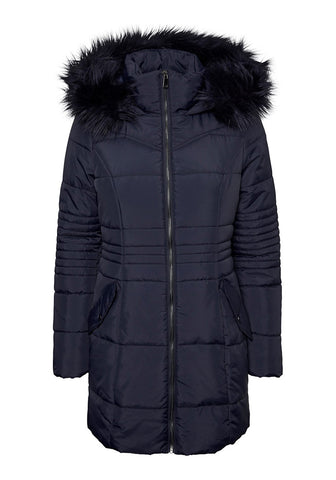 Bessy Long Puffer Jacket With Faux Fur Hood by Vero Moda in Navy