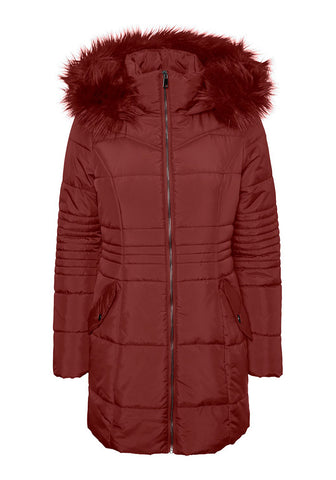 Bessy Long Puffer Jacket With Faux Fur Hood by Vero Moda in Rust