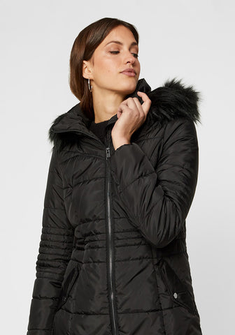 Bessy Long Puffer Jacket With Faux Fur Hood By Vero Moda in Black