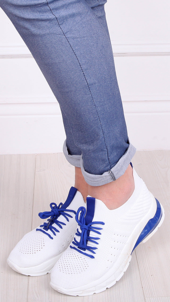 Gina Trainers in White/Royal Blue Trim