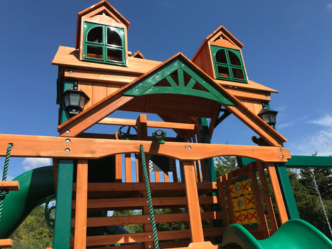 Gorilla Swing Set Install Close Up of Malibu Roof