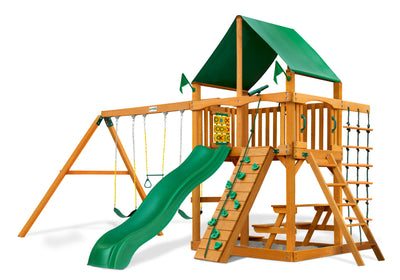 Gorilla Playsets Chateau Deluxe Green Vinyl Swing Set - Swing Set Paradise