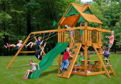 Gorilla Playsets Chateau Wood Roof Swing Set - Swing Set Paradise
