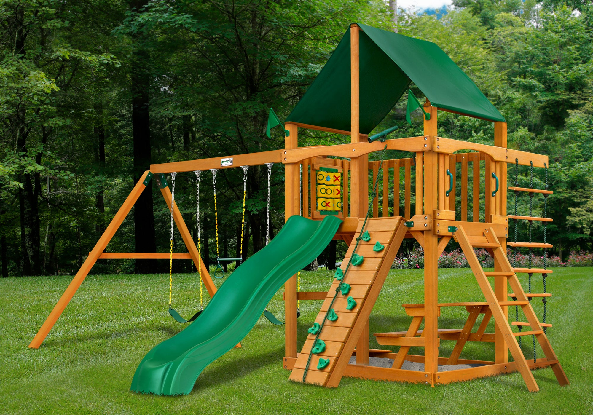 Gorilla Playsets Chateau Sunbrella Canvas Forest Green Swing Set - Swing Set Paradise