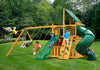 Gorilla Playsets Mountaineer Clubhouse Wood Roof Swing Set