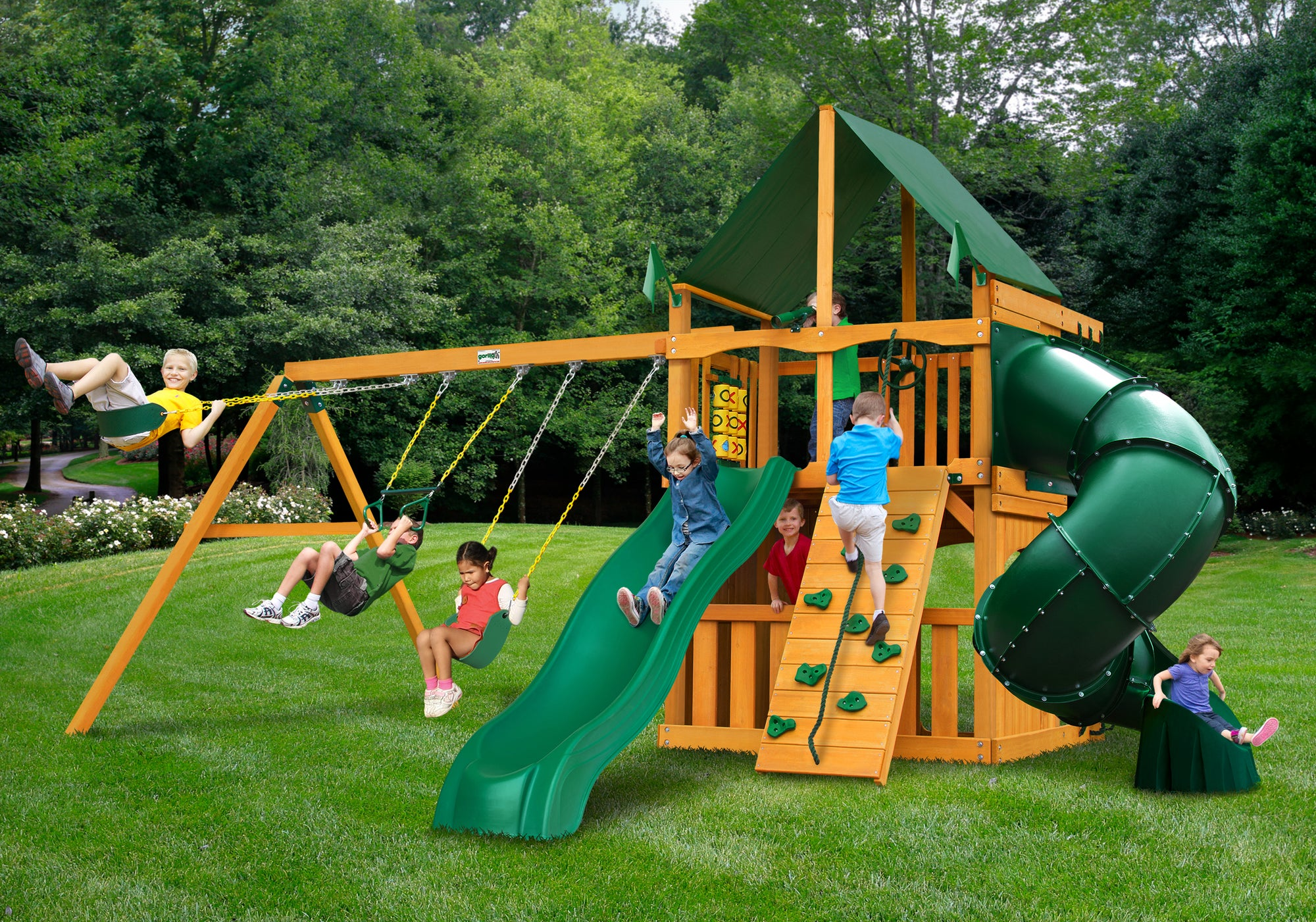Gorilla Playsets Mountaineer Clubhouse Sunbrella Canopy Swing Set - Swing Set Paradise