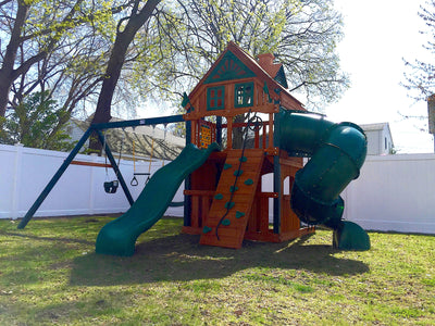 Gorilla Playsets Mountaineer Clubhouse Treehouse Swing Set Install