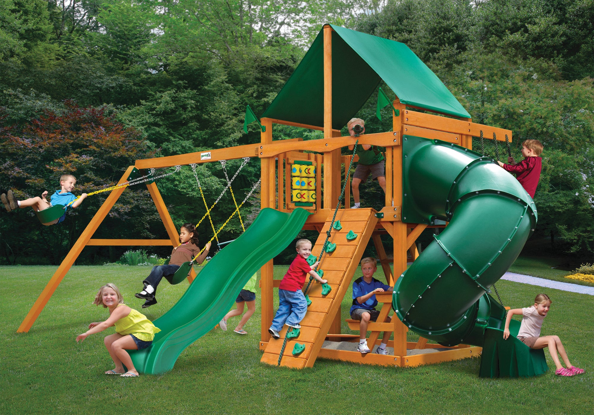 Gorilla Playsets Mountaineer Deluxe Green Vinyl Swing Set - Swing Set Paradise