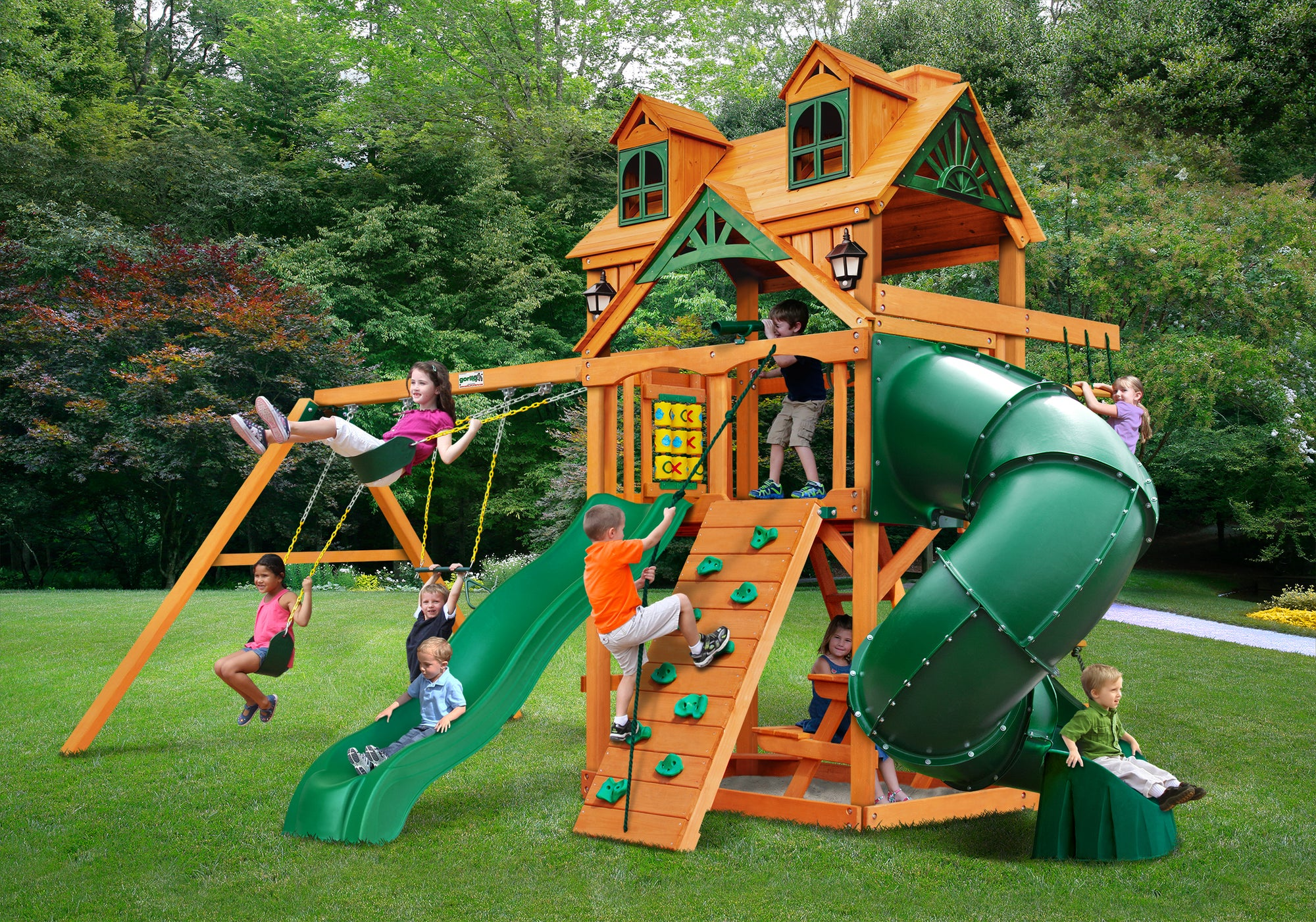 Gorilla Playsets Mountaineer Malibu Roof Swing Set - Swing Set Paradise