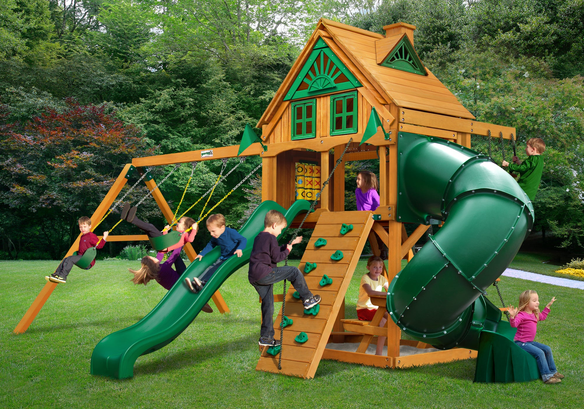 Picture of: Gorilla Playsets Mountaineer Treehouse Swing Set Swing Set Paradise