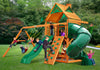 Gorilla Playsets Mountaineer Wood Roof Swing Set Kids Playing
