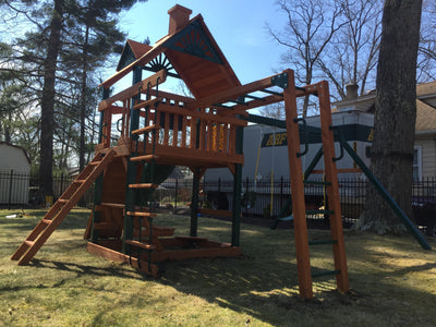 Gorilla Playsets Navigator Wood Roof Swing Set Install REAR View