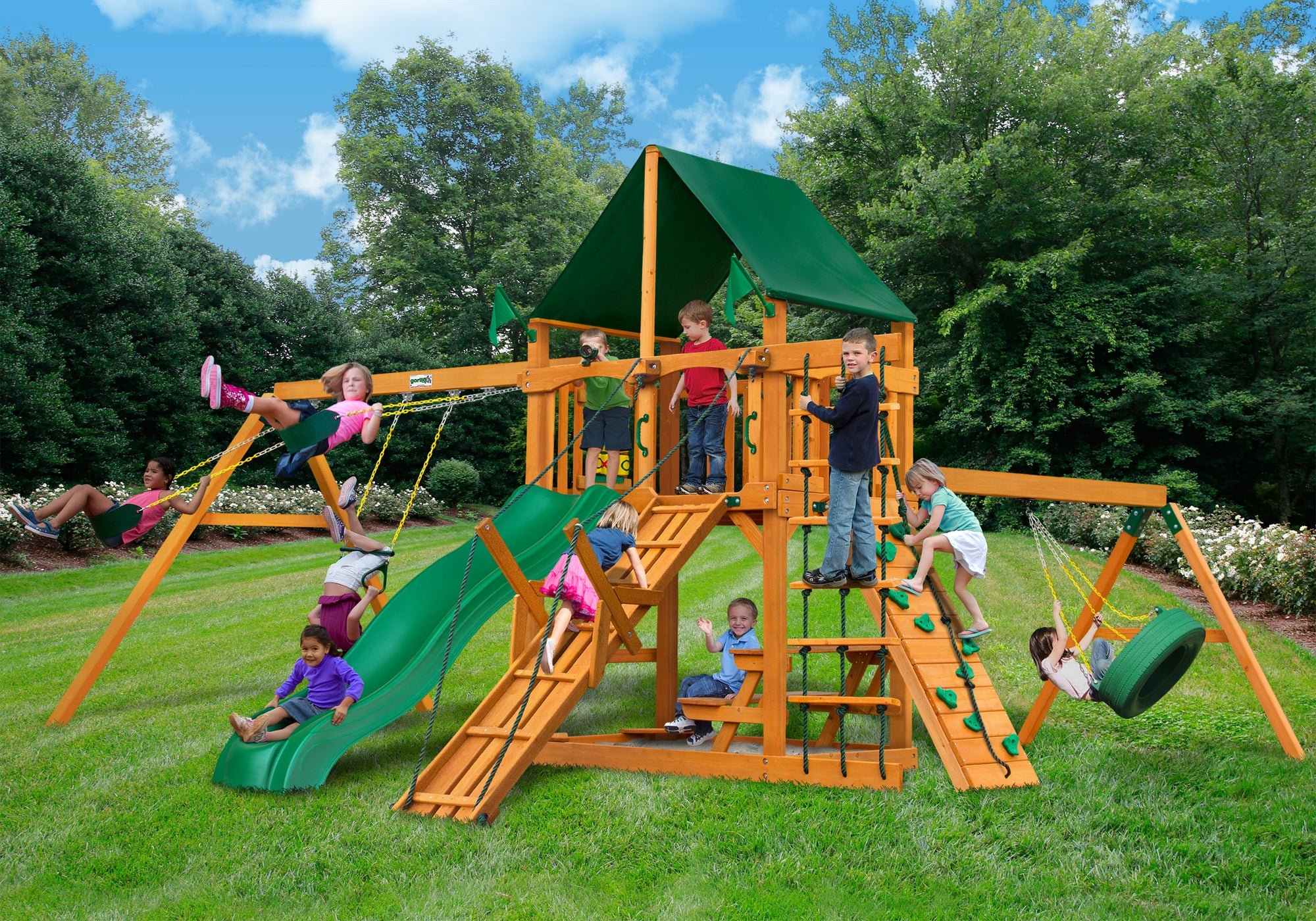 Gorilla Playsets Frontier Sunbrella Forest Green Canopy Swing Set - Swing Set Paradise