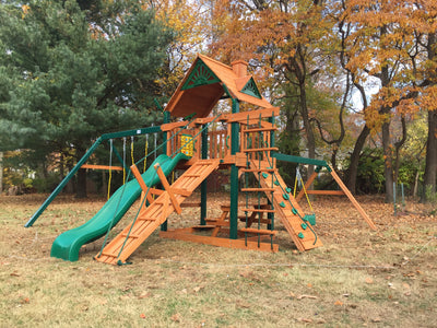 Gorilla Playsets Frontier Wood Roof Swing Set - Swing Set Paradise