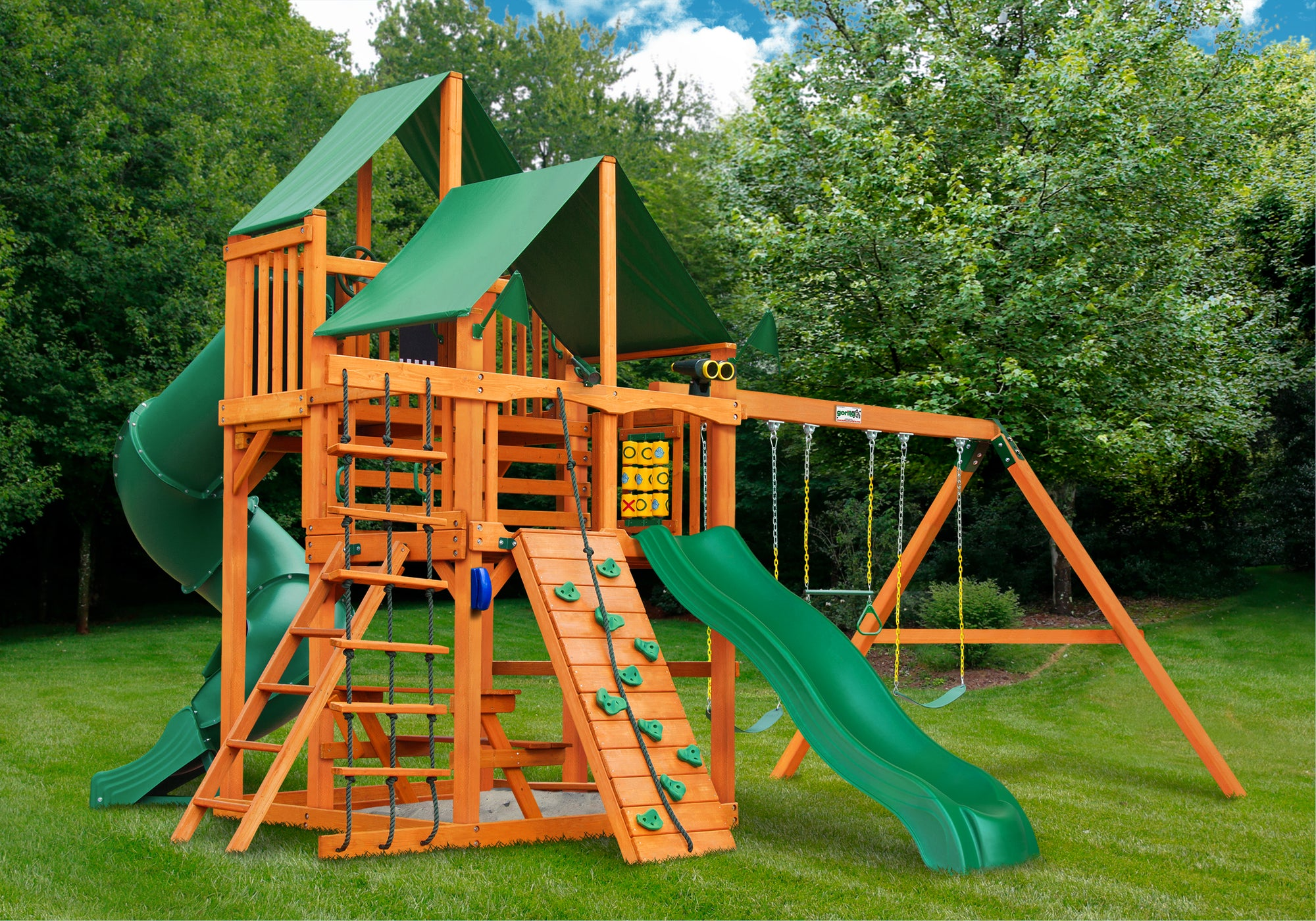 Gorilla Playsets Great Skye I Deluxe Green Vinyl Canopy Swing Set - Swing Set Paradise