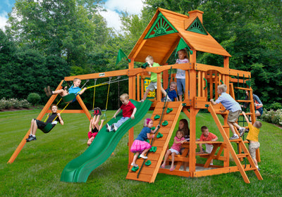 Gorilla Playsets Navigator Wood Roof Swing Set Kids Playing