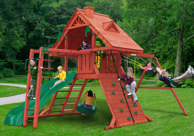 Gorilla Playsets Sun Palace II Swing Set with Kids (01-0013)