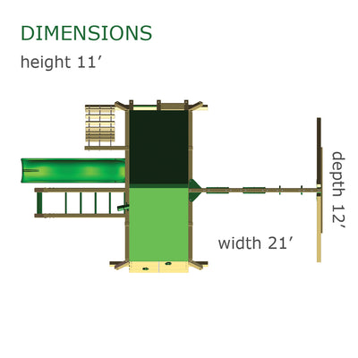 Gorilla Playsets Sun Valley II Swing Set  Overhead Dimensions