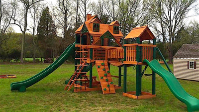 Installed Gorilla Treasure Trove II Malibu Swing Set 01-0078-AP by The Assembly Pros