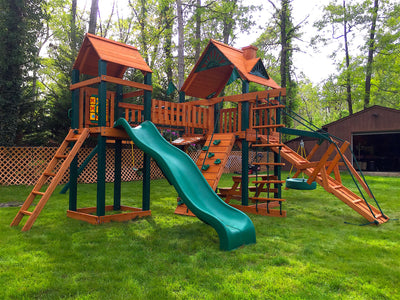Gorilla Playsets Pioneer Peak Wood Roof Swing Set - Swing Set Paradise