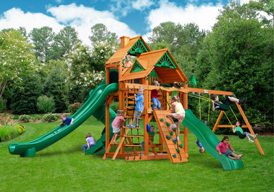 Gorilla Playsets Great Skye II Wood Roof Swing Set - Swing Set Paradise