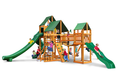 Gorilla Playsets Treasure Trove II Sunbrella Forest Green Swing Set - Swing Set Paradise