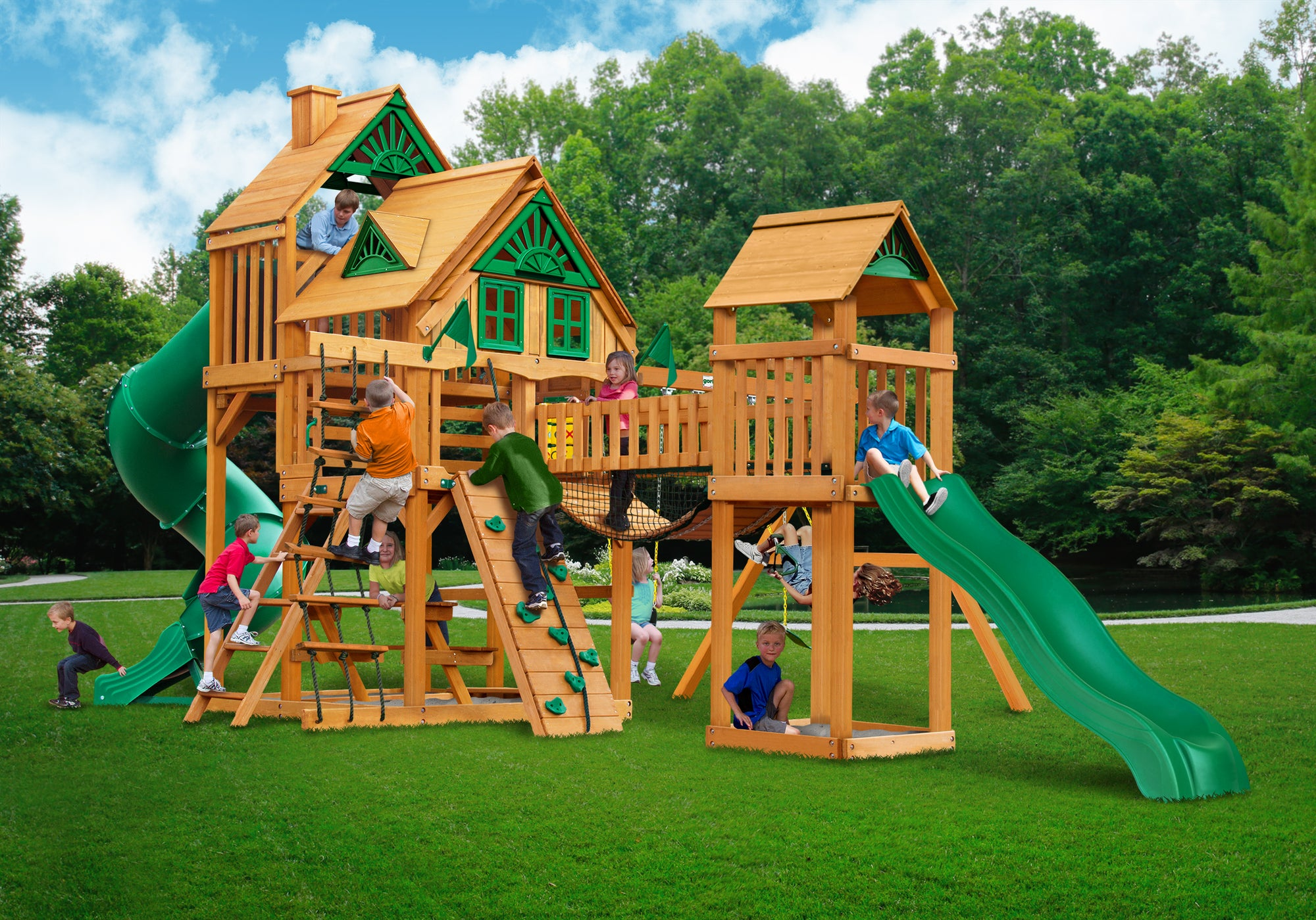 Gorilla Playsets Treasure Trove I Treehouse Swing Set - Swing Set Paradise