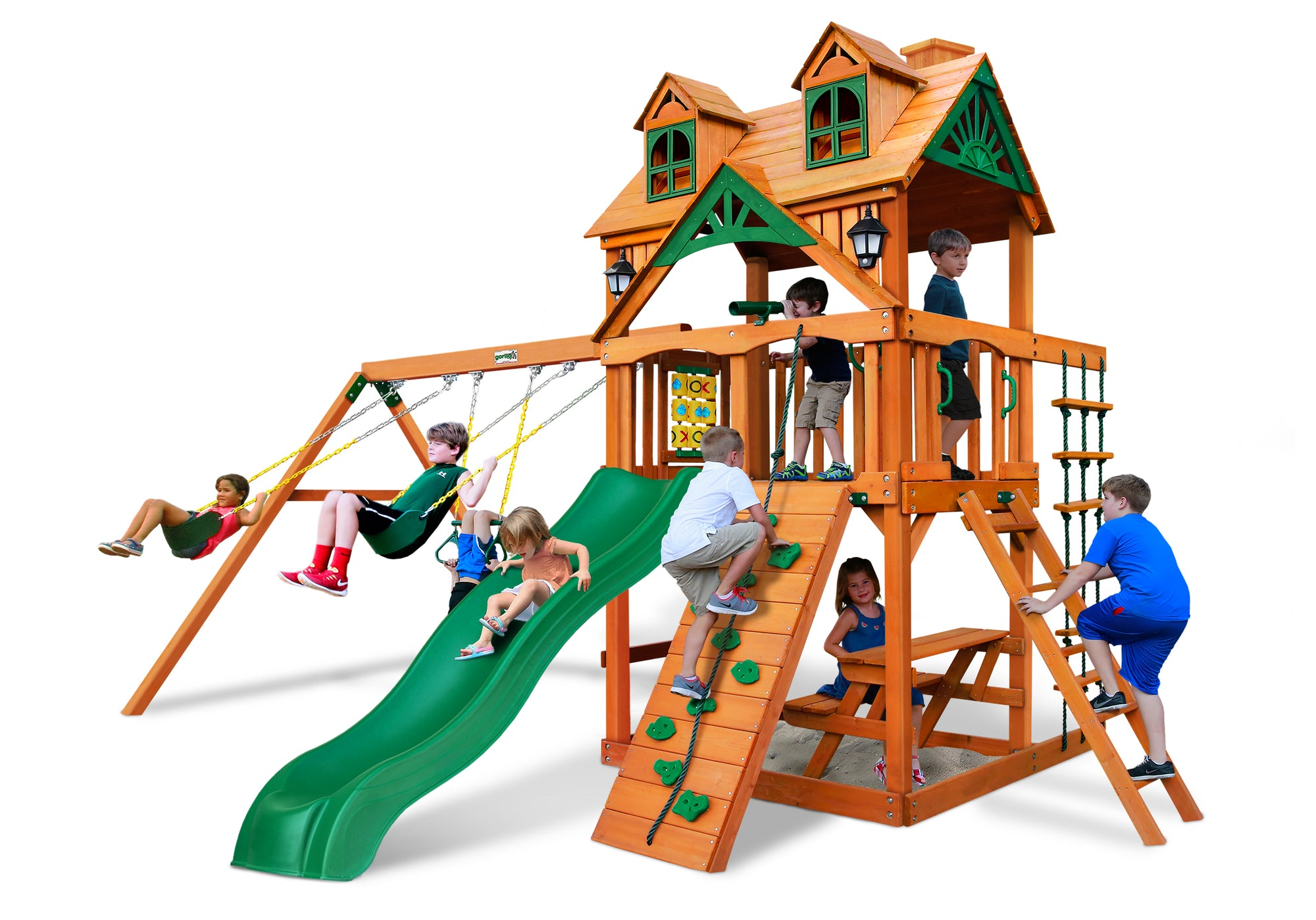 Gorilla Playsets Chateau Malibu Wood Roof Swing Set - Swing Set Paradise