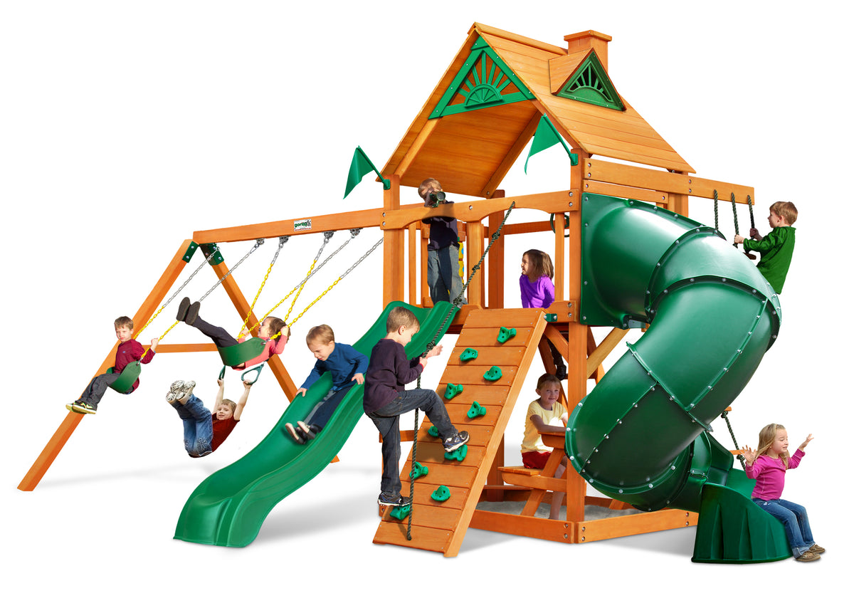 Gorilla Playsets Mountaineer Wood Roof Swing Set - Swing Set Paradise
