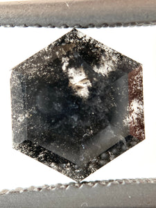 1.61ct Rose Cut Hex Salt and Pepper Diamond
